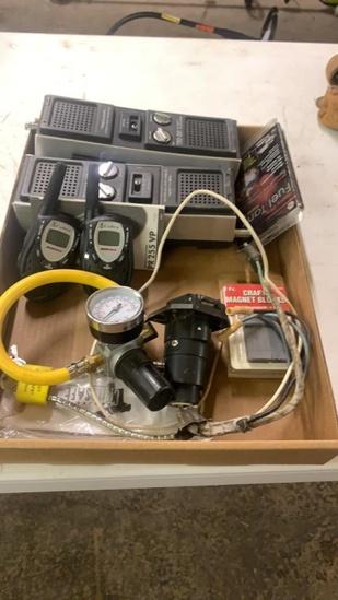 Lot of walkie talkies,regulator,trailer wire