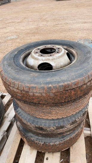Set of 4 LT215/85R16 tires and rims