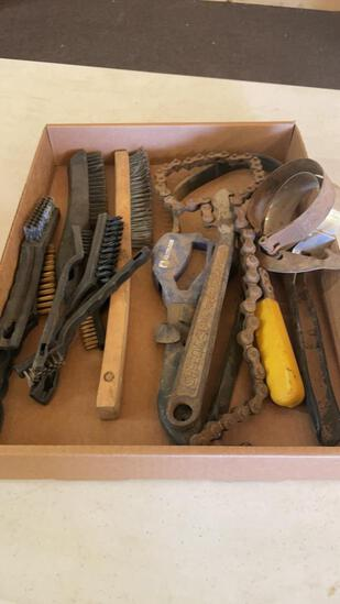 Lot of filter, chain & strap wrenches & wire