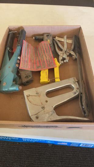 Lot of rivet guns, stapler & precision files