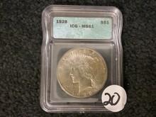 KEY DATE ICG 1928 Peace Dollar MS-61
