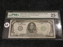 WOW! PMG 1928 $1,000 NOTE in VF-25!!!