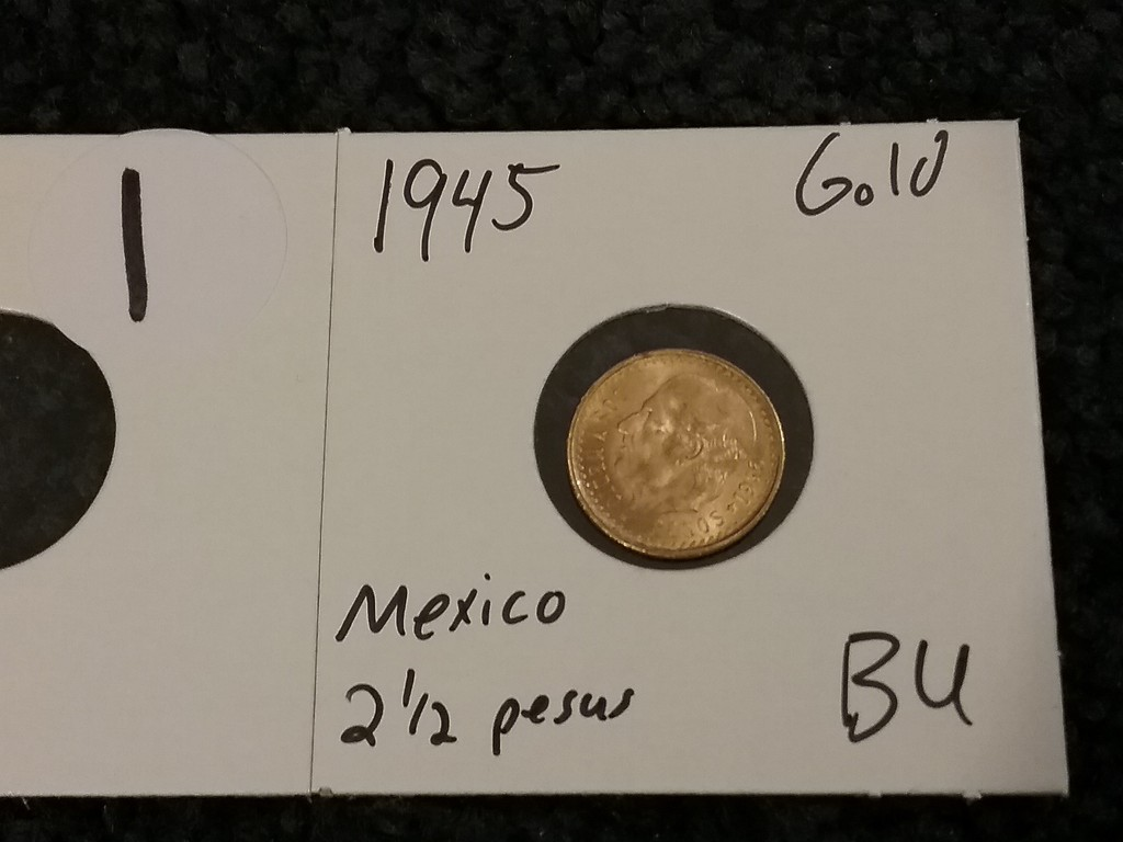 GOLD Mexico 1945 2 1/2 pesos Brilliant Uncirculated