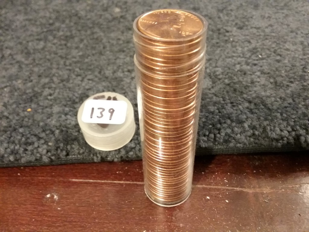 1954-S Brilliant Uncirculated RED wheat cent roll