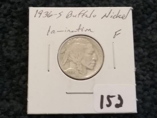 1936-S Buffalo Nickel in Fine with a Lamination Error