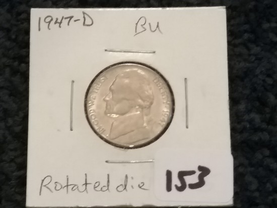 Brilliant Uncirculated 1947-D Jefferson Nickel Partially