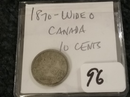 Scarce Variety 1870 silver Canada 10 cent Wide-O variety
