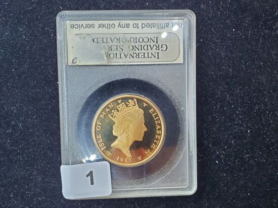 GOLD! Stunning Proof 68 Gold 1987 Isle of Man 1/2 Angel