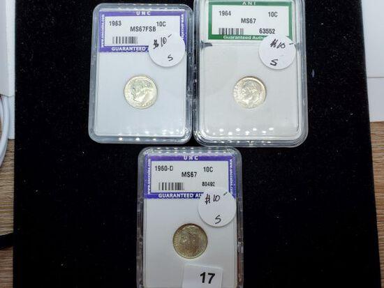 Three Slabbed Silver Roosevelt Dimes