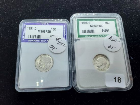 Two Slabbed Silver Roosevelt Dimes