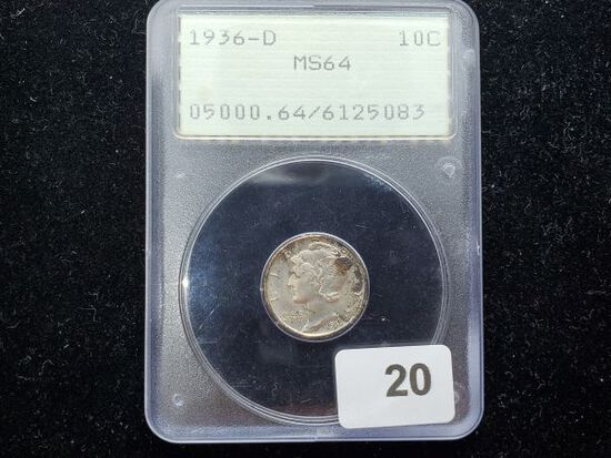 PCGS 1936-D Mercury Dime in MS-64