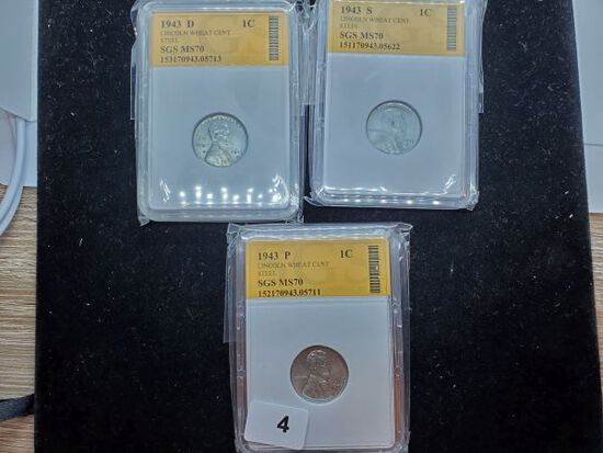 1943 P, D, S Steel Wheat cents slabbed
