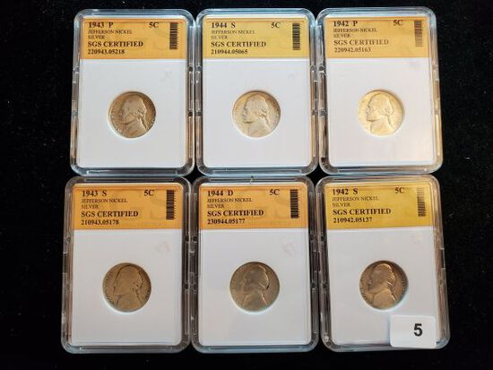 Group of six slabbed Silver Jefferson War Nickels