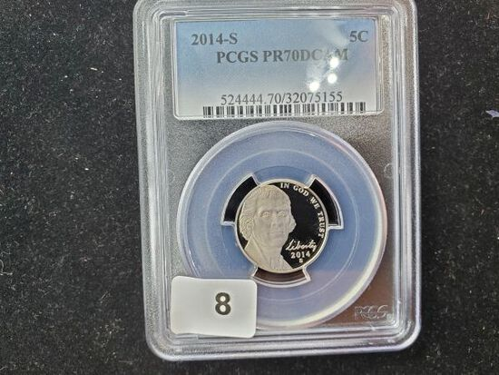 PCGS 2014-S Jefferson Nickel in Proof 70 Deep Cameo