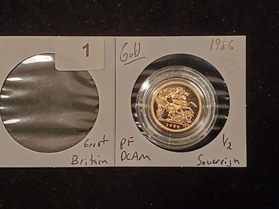 GOLD! Beautiful Proof Deep Cameo British Gold 1/2 Sovereign from 1986