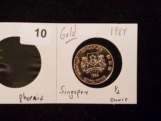 GOLD! Singapore 1984 Proof Gold Phoenix