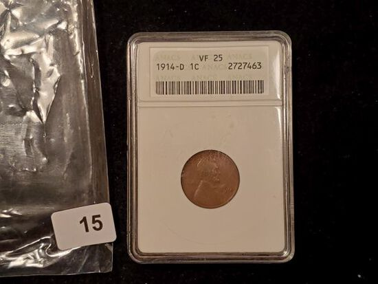 KEY DATE! ANACS 1914-D Wheat cent in Very Fine 25