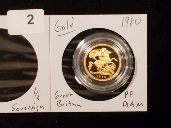 GOLD! Beautiful Proof Deep Cameo British Gold 1/2 Sovereign from 1980