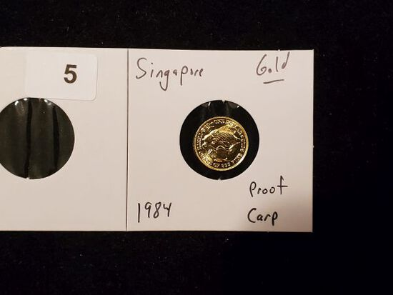 GOLD! Singapore 1984 Proof Gold Carp
