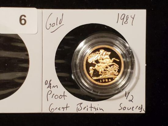 GOLD! Beautiful Proof Deep Cameo British Gold 1/2 Sovereign from 1984