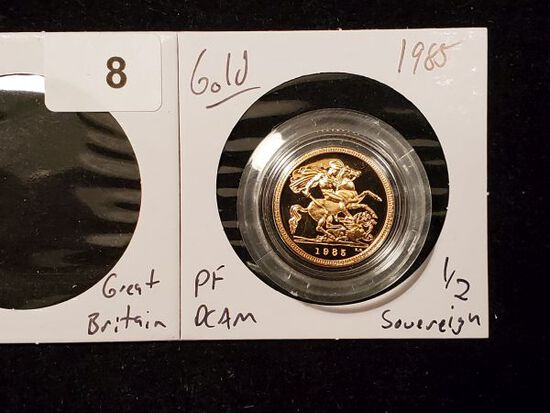 GOLD! Beautiful Proof Deep Cameo British Gold 1/2 Sovereign from 1985
