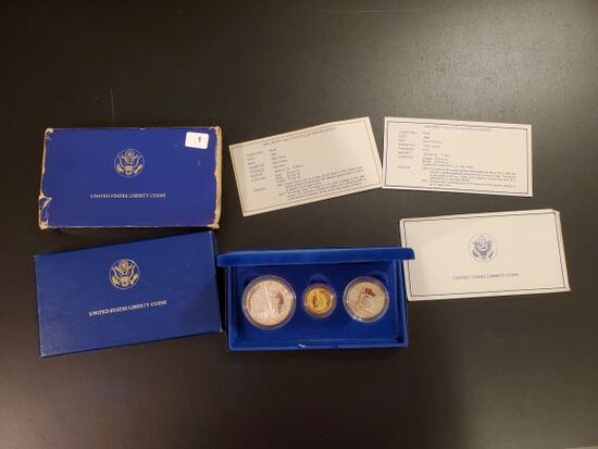 GOLD! 1986 Liberty Three Coin Proof Set