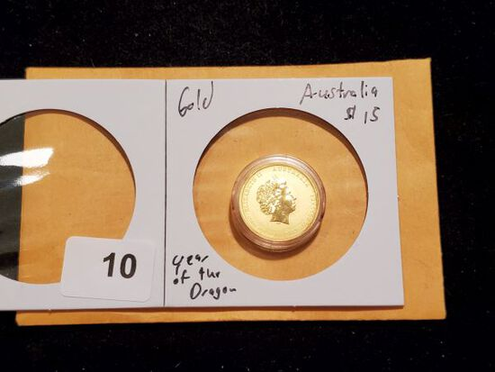 GOLD! 2012 Australia $15 Year of the Dragon Low Mintage
