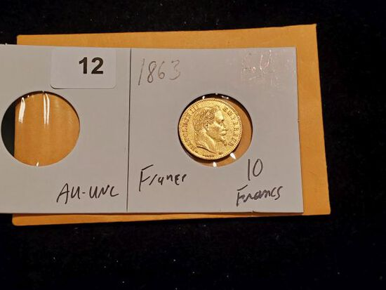 GOLD! 1863 France 10 francs in AU-Uncirculated