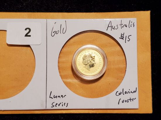 GOLD! 2005 Australia $15 Lunar Series Rooster Gold Colorized Coin