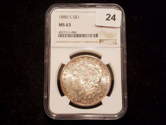 NGC 1880-S Morgan Dollar in MS-63