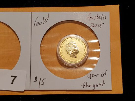 GOLD! 2015 Australia $15 Year of the Goat Low Mintage