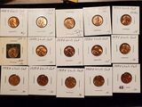 Group of 15 Brilliant Uncirculated RED wheat cents