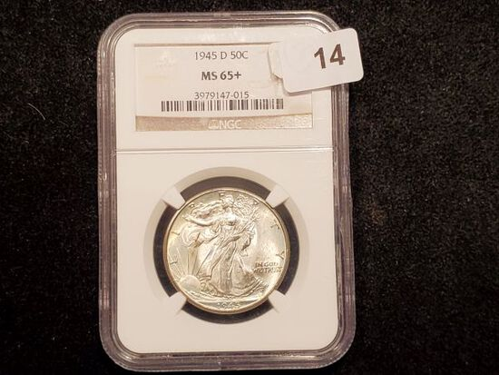 NGC 1945-D Walking Liberty Half Dollar in MS-65+