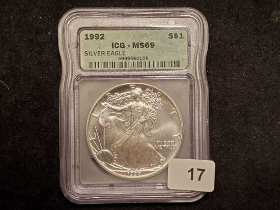 ICG 1992 American Silver Eagle MS-69