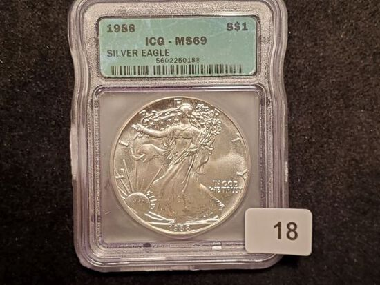ICG 1988 American Silver Eagle MS-69