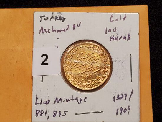 GOLD! Turkey Mehmed IV gold 100 kurus Brilliant Uncirculated