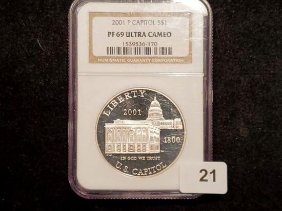 NGC 2001-P Capitol Commemorative Silver Dollar