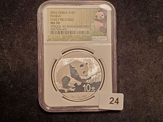 NGC 2016 China PANDA Silver 10 y in MS-70