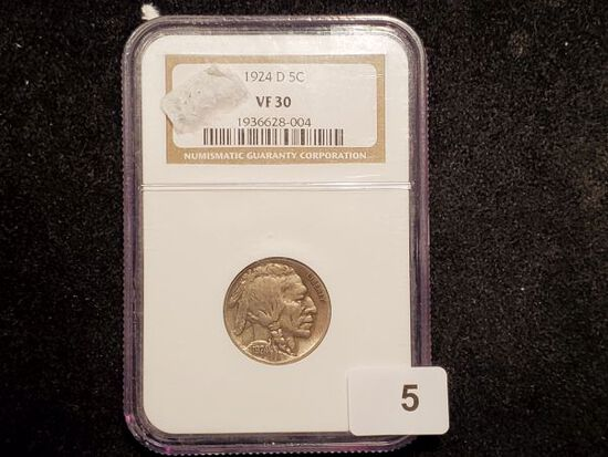 Semi-Key NGC graded 1924-D Buffalo Nickel in Very Fine 30