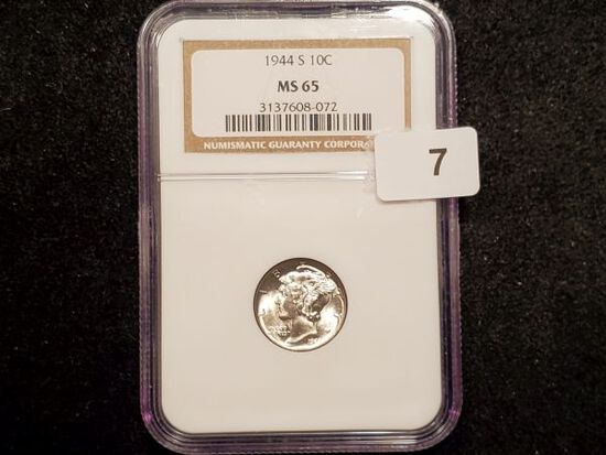 NGC 1944-S Mercury Dime in MS-65