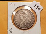 NICE! 1818 Capped Bust Half Dollar in Very Fine 30