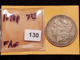 1878 Morgan Dollar 7 Tail Feather in F-VF