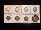 Eight Great Britain coins, two silver