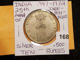 1972 India Silver 10 rupees
