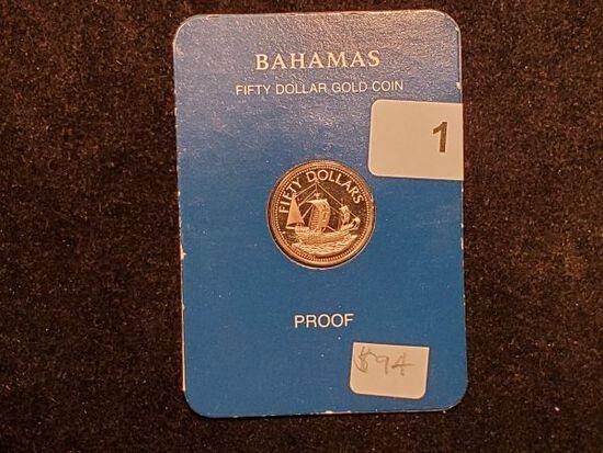 GOLD! 1985 Bahamas $50 Gold Proof