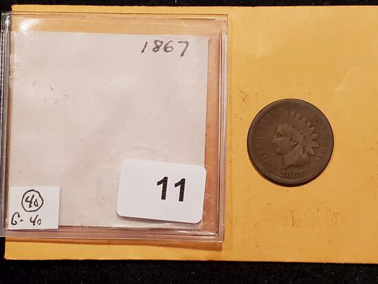 *Semi-Key Date 1867 Indian cent in Good condition