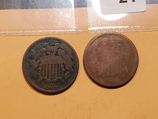 1864 and 1868 Two Cent pieces
