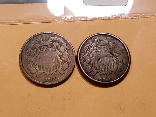 1865 and 1866 Two cent pieces