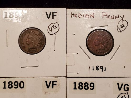 Ten Better Grade Indian cents from Very Good to Extra Fine