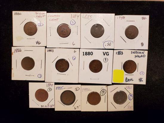 Twelve 1880's Indian Cents